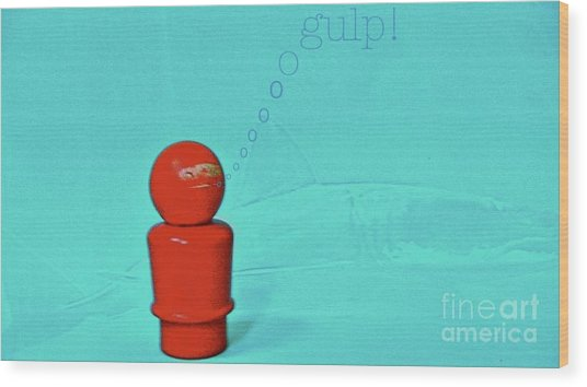 Shark Diver Wood Print