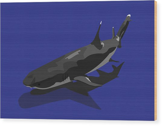 Shark Wood Print by Tanias Reign