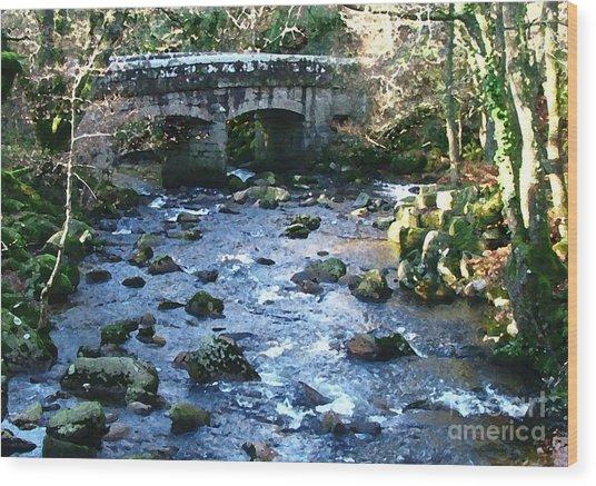Shaugh Prior Bridge Wood Print by Ron Telford