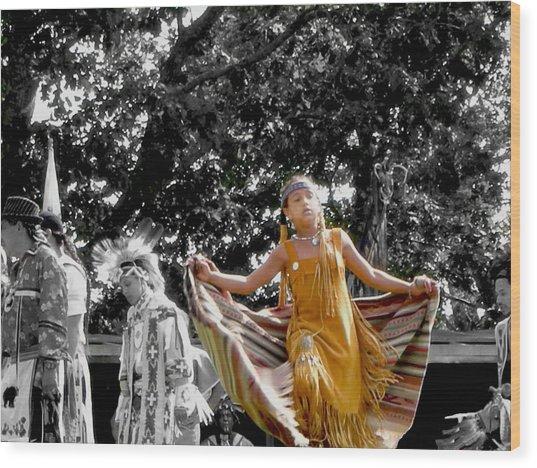 Shawl Dancer Wood Print by Cathy Brown