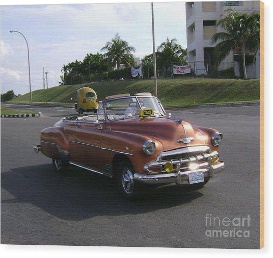 Shiny Cab At Varadero Beach Wood Print by Laurel Fredericks