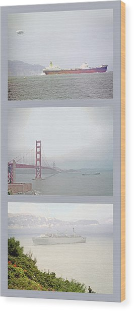 Shipping Triptych - San Francisco Bay Wood Print by Steve Ohlsen