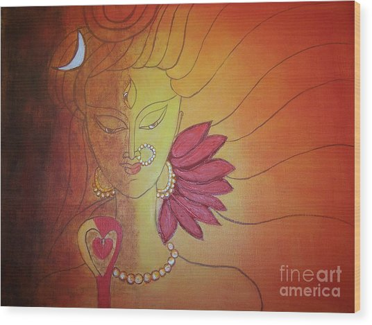 Shivshakti - Ardhnaarishwar Wood Print by Anu Darbha
