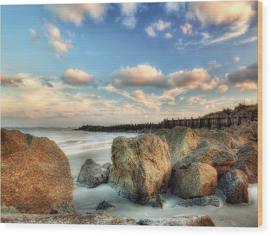 Shoreline Rocks And Fence Posts Folly Beach Wood Print by Jenny Ellen Photography