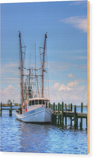 Shrimp Boat At Dock Wood Print by Barry Jones