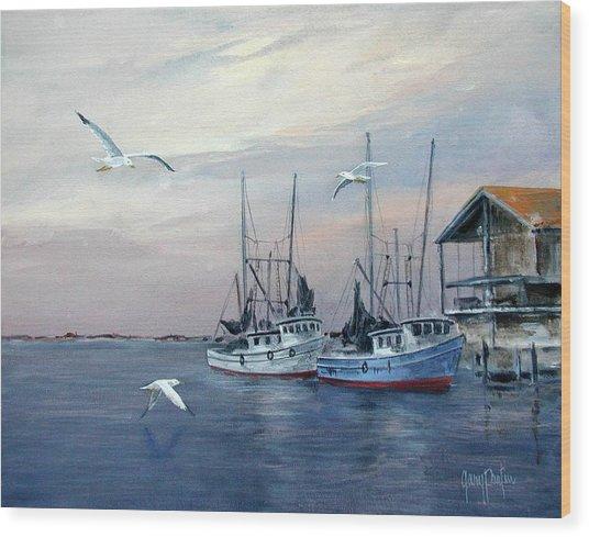 Shrimp Boats At Joe Patti's Wood Print