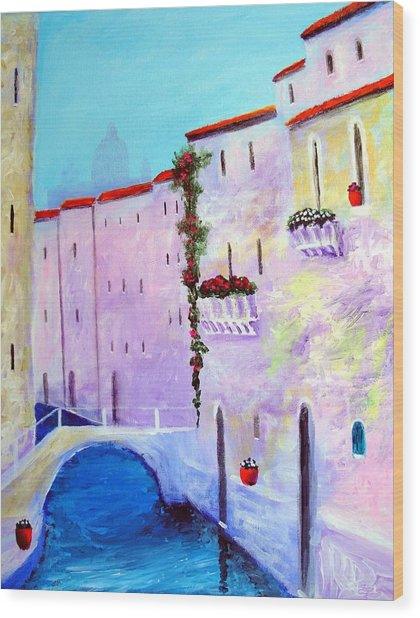Side Canal Of Venice Wood Print