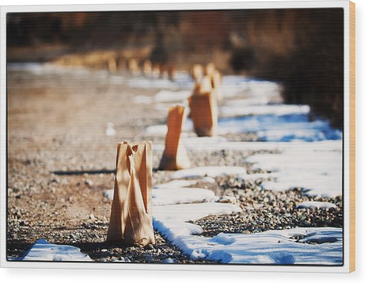 Side Road Luminaries Wood Print