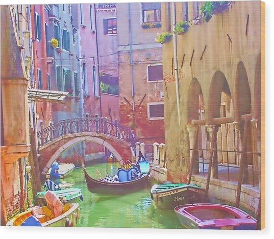 Siesta Time In Venice Wood Print