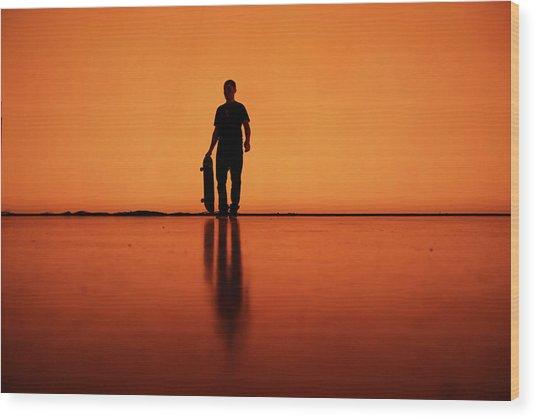 Silhouette Of Man With Skateboard, Berlin Wood Print by Atomare Aufruestung