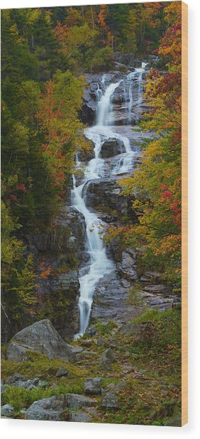 Silver Cascade Waterfall Wood Print