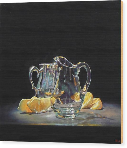 Silver Glass Oranges Wood Print by Jeffrey Hayes