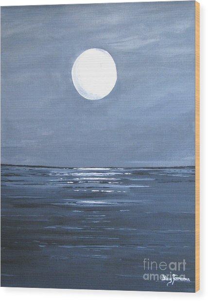 Silver Moon Wood Print