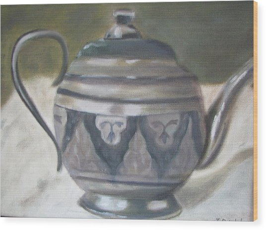 Silver Tea Kettle Wood Print by Iris Nazario Dziadul