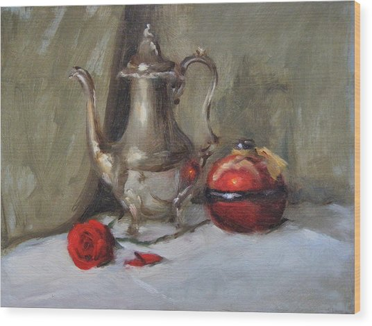 Silver Tea Pot Wood Print