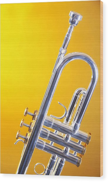 Silver Trumpet Isolated On Yellow Wood Print