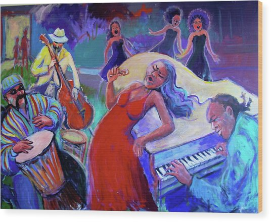 Singin  The Blues Wood Print