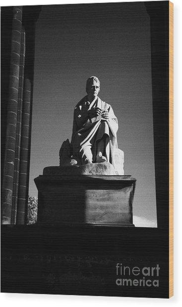 Sir Walter Scott Statue Inside The Monument On Princes Street Edinburgh Scotland Uk United Kingdom Wood Print by Joe Fox