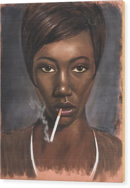 Sister With Cigarette Wood Print by L Cooper