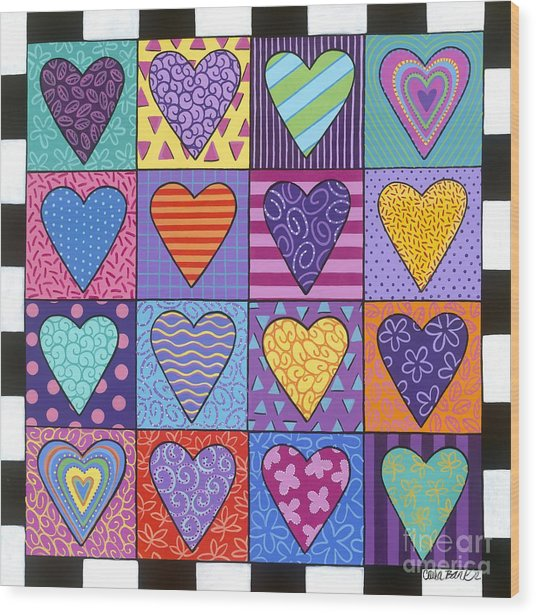 Wood Print featuring the painting Sixteen Hearts by Carla Bank
