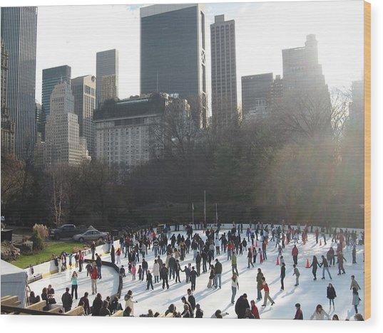 Skating In Central Park  Wood Print