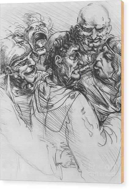 Sketch After Leonardo Wood Print