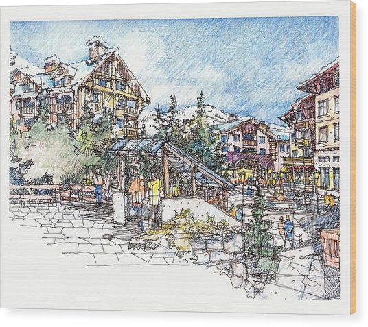 Ski Village Wood Print