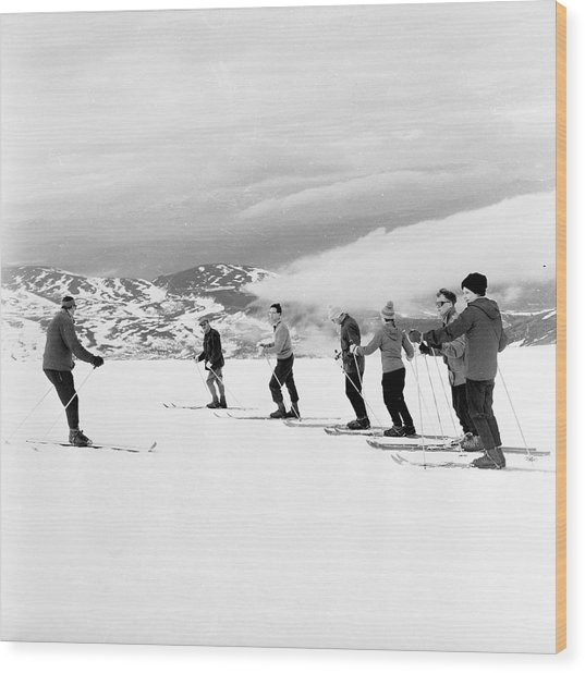 Skiing Lesson Wood Print by John Drysdale