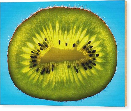 Slice Of Divine Green Kiwi Fruit Wood Print