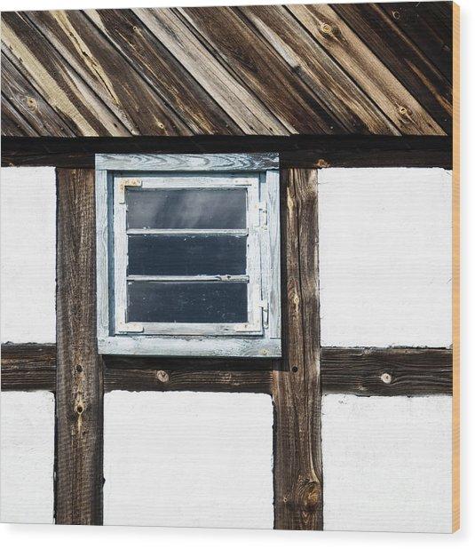 Small Blue Window Wood Print