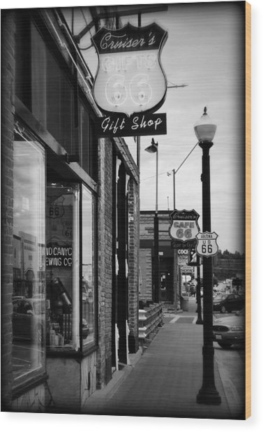 Small Town Shops Wood Print