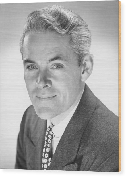 Smiling Man In Studio, (b&w), Portrait Wood Print by George Marks