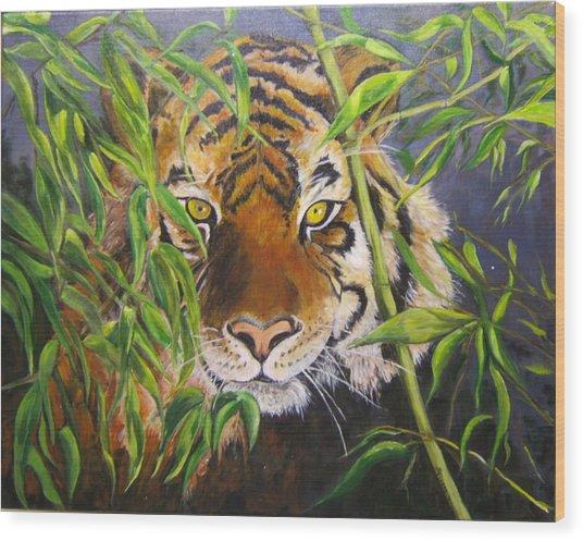 Smiling Tiger Wood Print