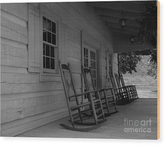 Smokey Mountain Front Porch Wood Print by Elizabeth Coats