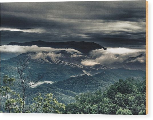Smoky Mountain Clouds    Wood Print by Glenn Lawrence