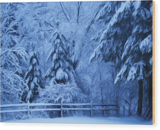 Snow Blanket At Twilight Wood Print