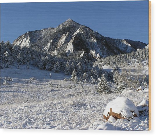 Snow Covered Bear Mountain Wood Print