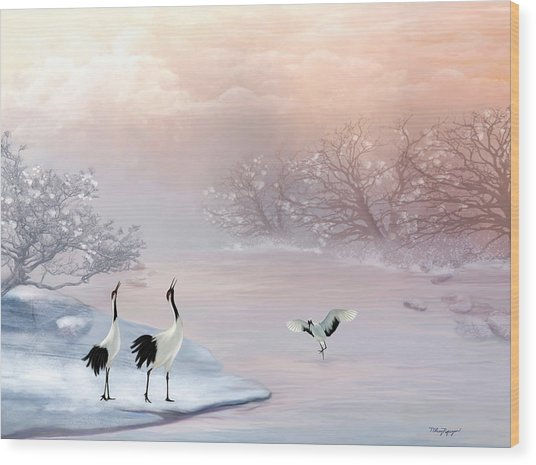 Snow Cranes Wood Print