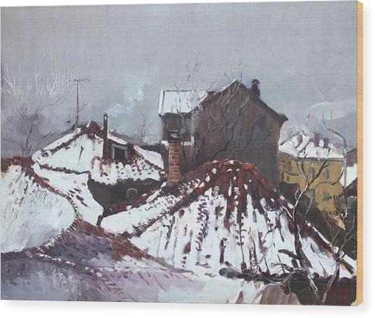 Snow In Elbasan Wood Print