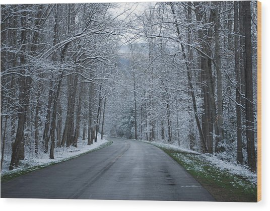 Snow On The Road Wood Print by Carrie Munoz