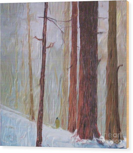 Snow Walker Wood Print