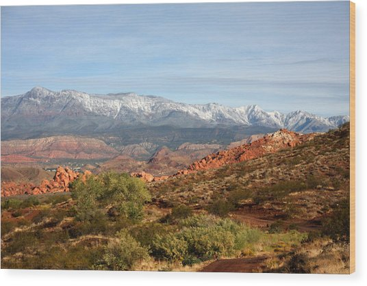 Snowcapped Foothills Wood Print by Marta Alfred