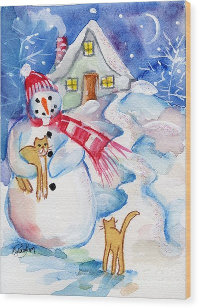Snowman And Kitten Wood Print by Sylvia Pimental