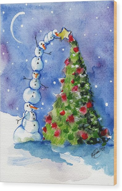 Snowman Christmas Tree Wood Print by Sylvia Pimental