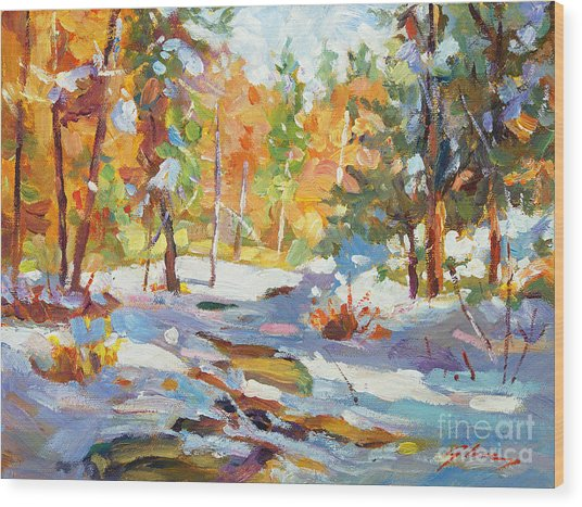 Snowy Autumn - Plein Air Wood Print by David Lloyd Glover