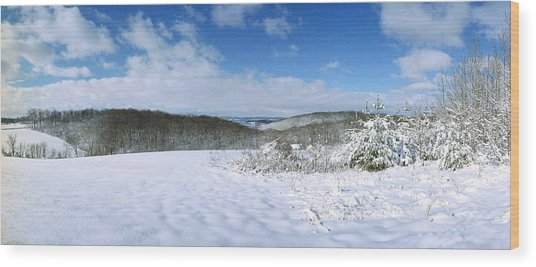 Snowy Hill Wood Print by Jan W Faul