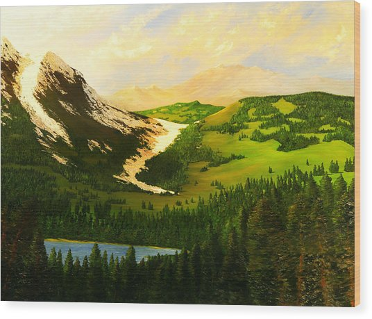 Snowy Mountain Wood Print by Nelson