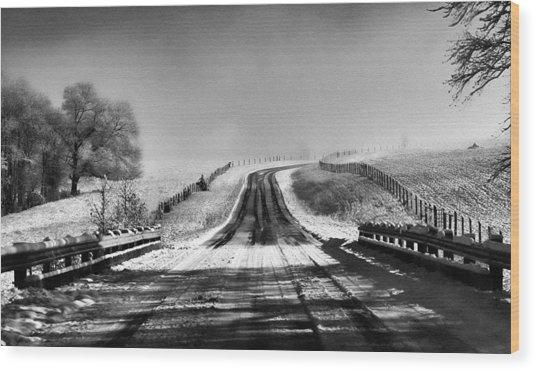 Snowy Road Wood Print