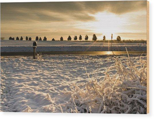 Snowy Sunrise Wood Print
