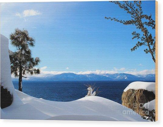 Snowy Tahoe Wood Print by Sean McGuire